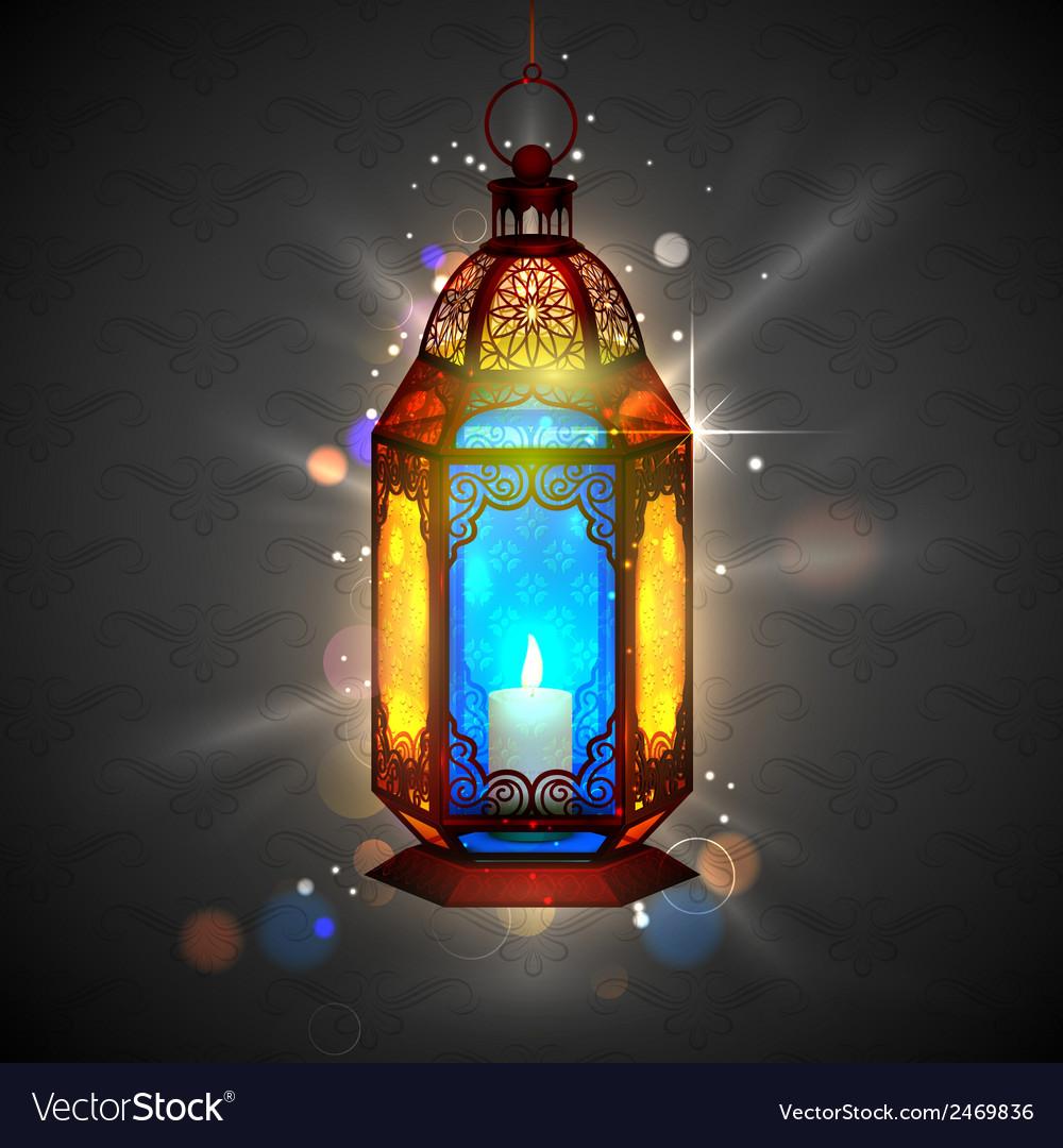 Illuminated lamp on ramadan kareem generous vector | Price: 3 Credit (USD $3)