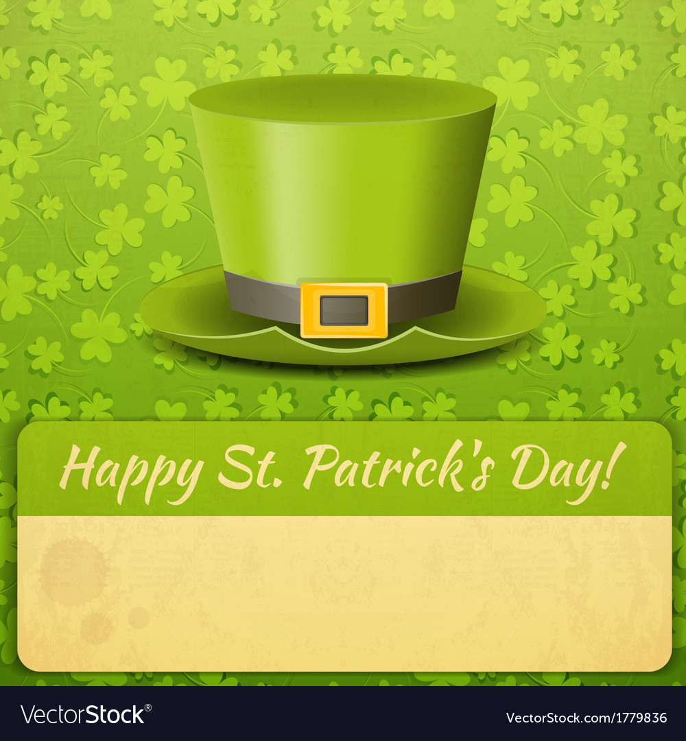Patricks day card green hat vector | Price: 1 Credit (USD $1)