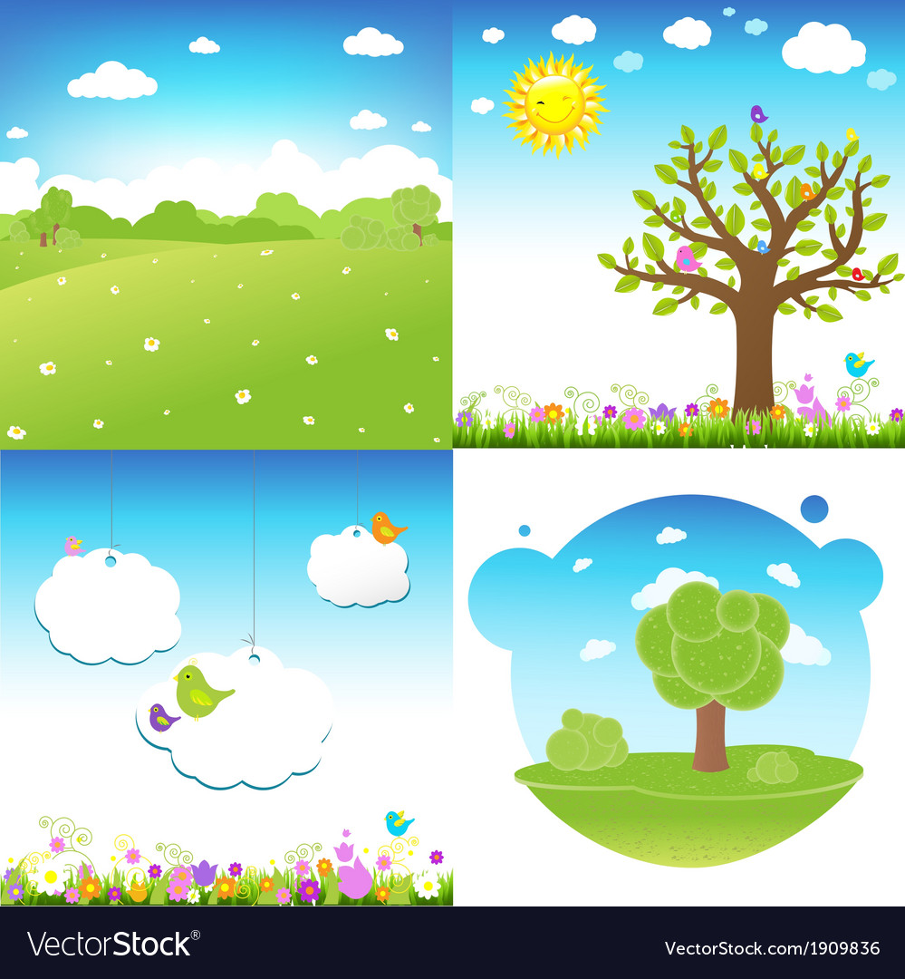 Set cartoon landscape vector | Price: 1 Credit (USD $1)