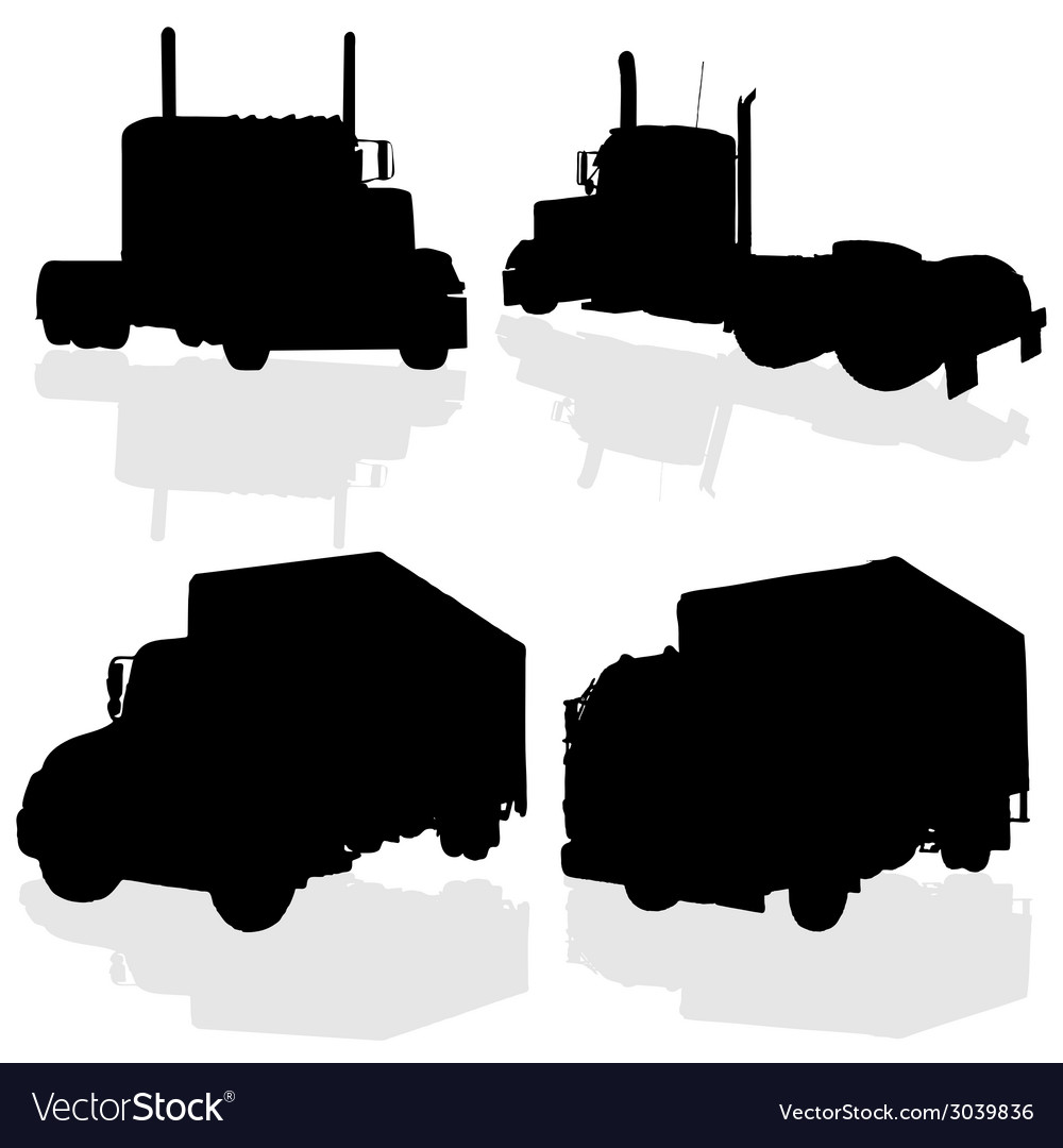 Truck black silhouette vector | Price: 1 Credit (USD $1)