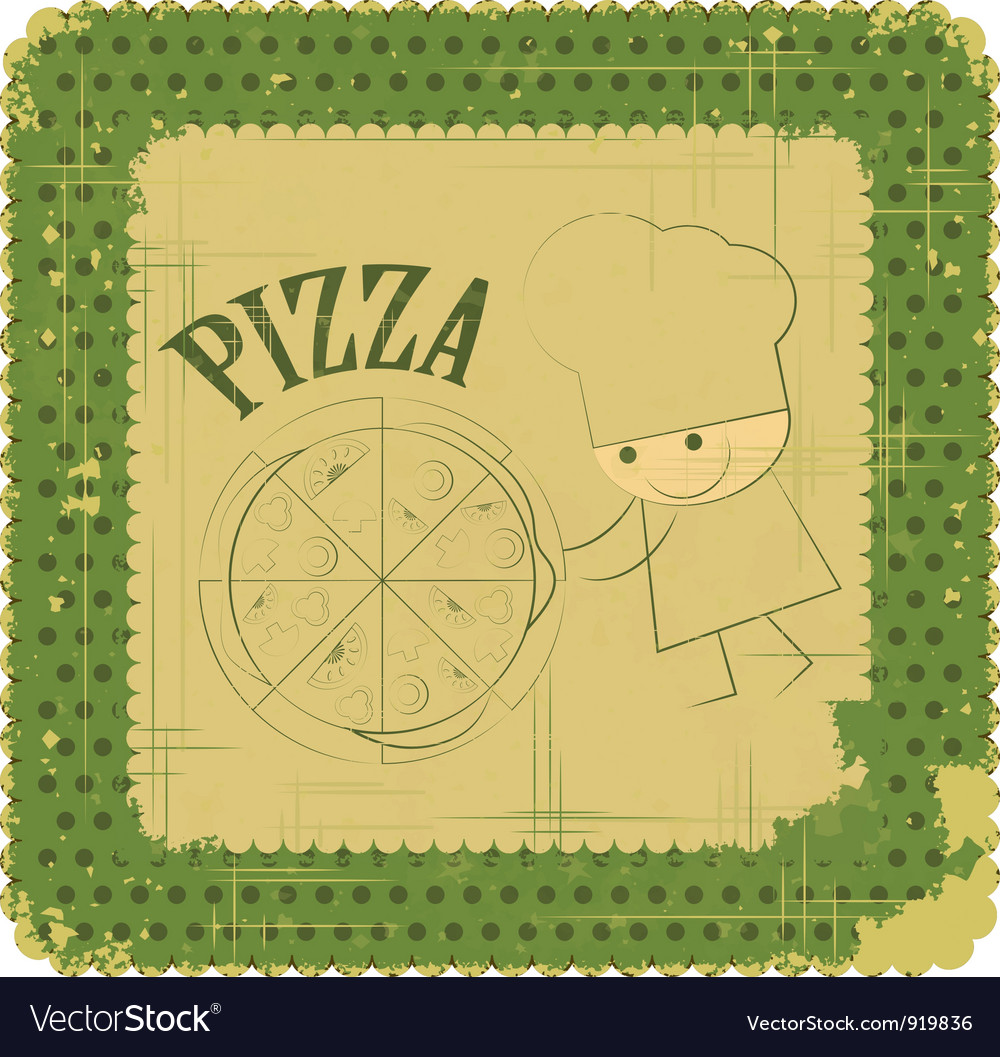 Vintage pizza menu card vector | Price: 1 Credit (USD $1)