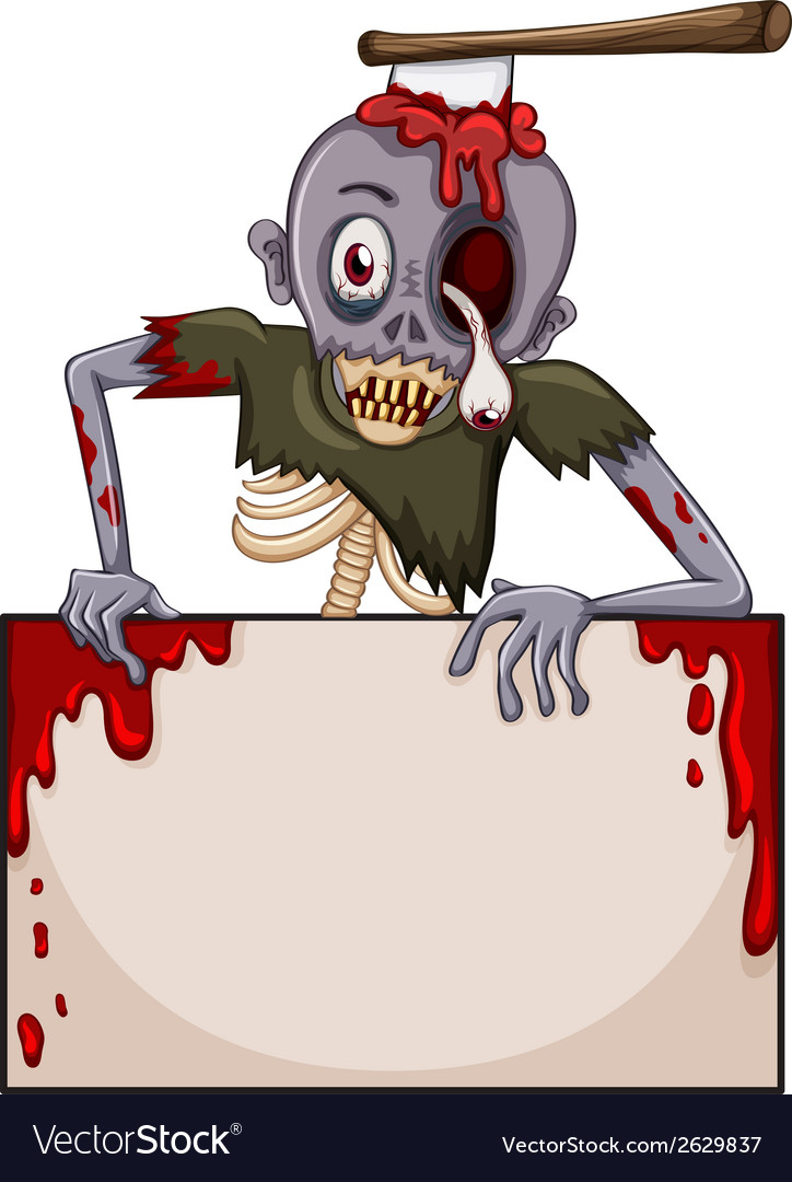 A zombie with an empty signboard vector | Price: 3 Credit (USD $3)
