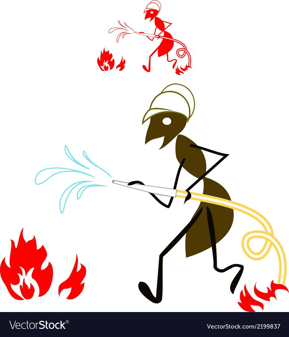 Ant fireman vector | Price: 1 Credit (USD $1)