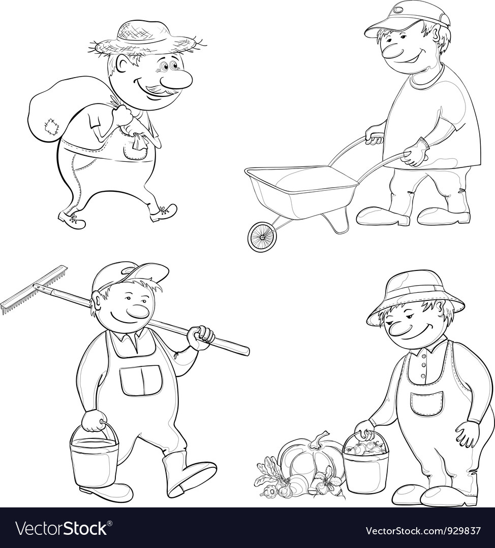 Cartoon gardeners work outline vector | Price: 1 Credit (USD $1)