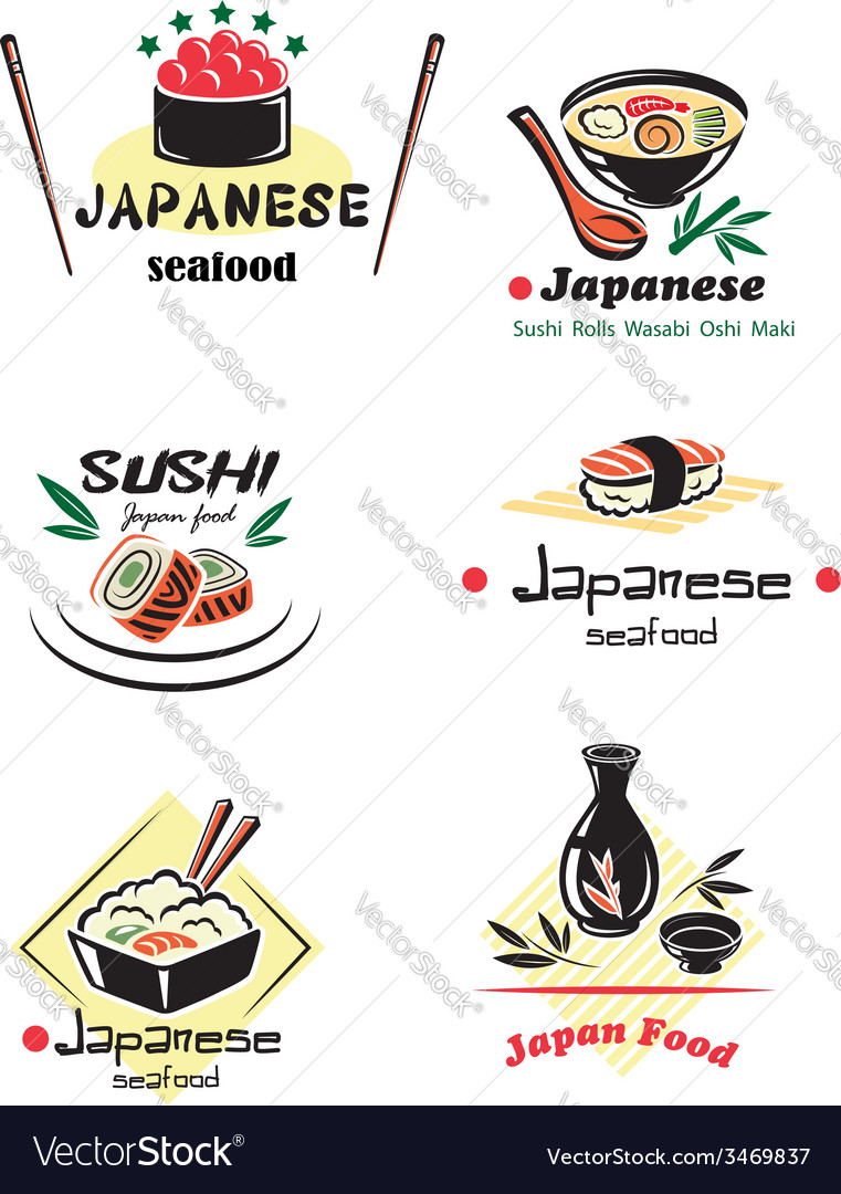 Colored japanese seafood set vector | Price: 1 Credit (USD $1)