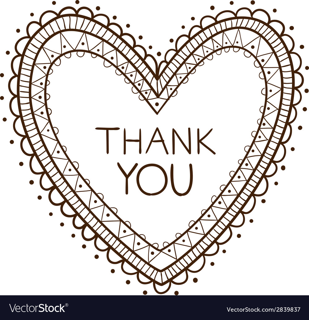 Heart with thank you text vector   Price: 1 Credit (USD $1)