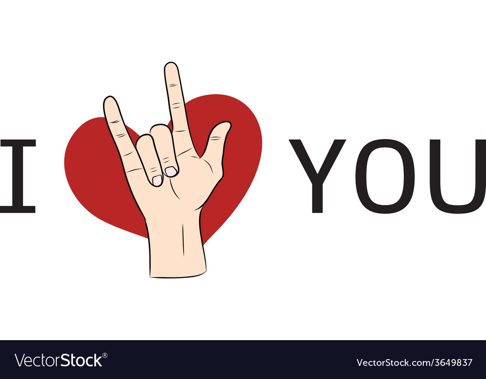 I love you hand sign with red heart vector | Price: 1 Credit (USD $1)