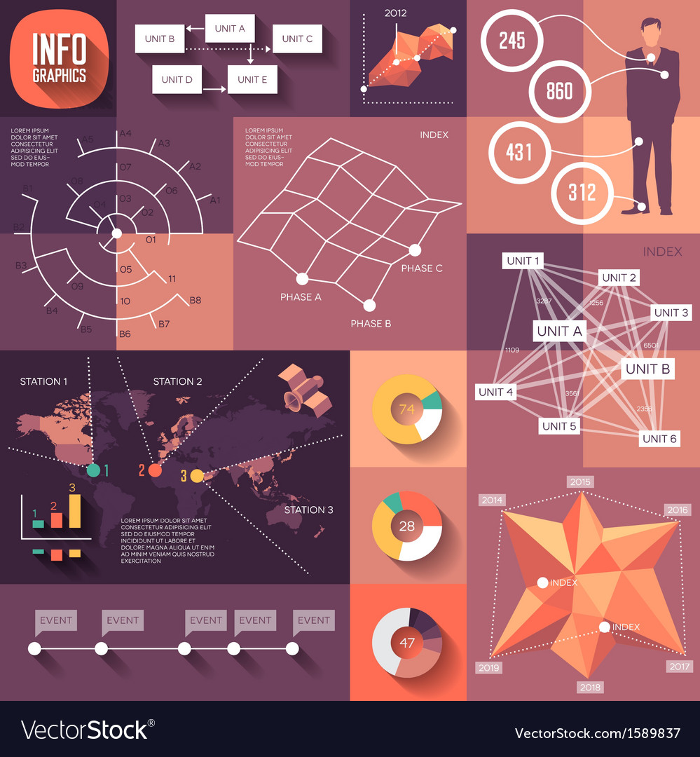 Infographics of flat design with long shadows vector   Price: 1 Credit (USD $1)