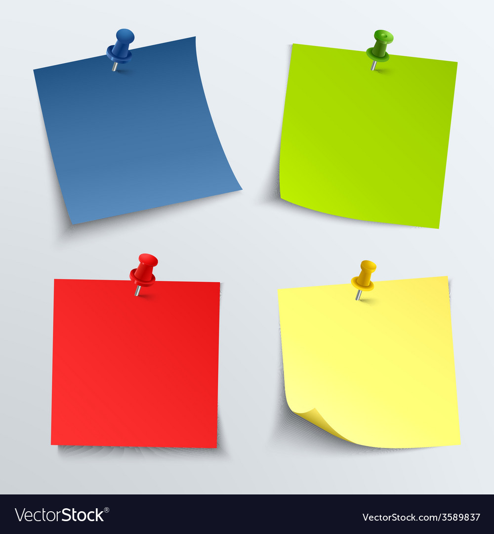 Note colored paper with push pins vector | Price: 1 Credit (USD $1)