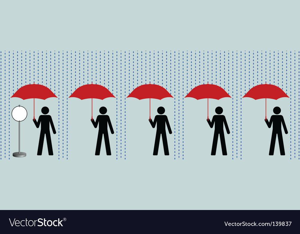 Queue in rain vector   Price: 1 Credit (USD $1)