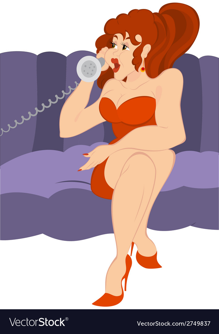 Retro hipster girl talking on old fashioned phone vector | Price: 1 Credit (USD $1)