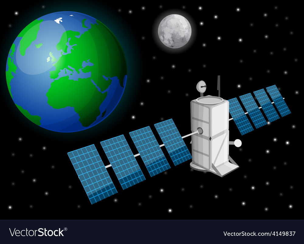 Satellite in space vector | Price: 1 Credit (USD $1)