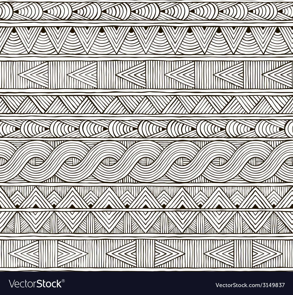 Seamless tribal pattern hand-drawn background vector | Price: 1 Credit (USD $1)
