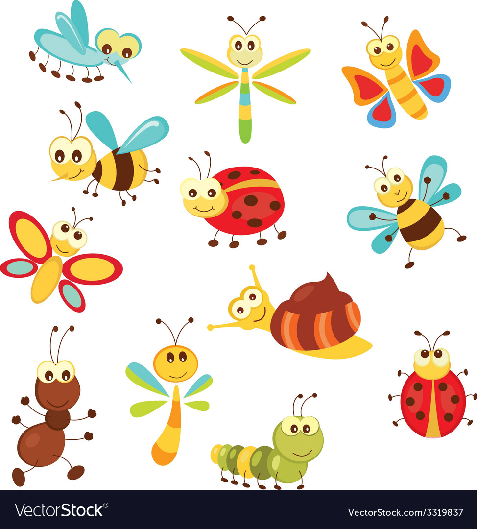 Set of funny insects vector | Price: 1 Credit (USD $1)