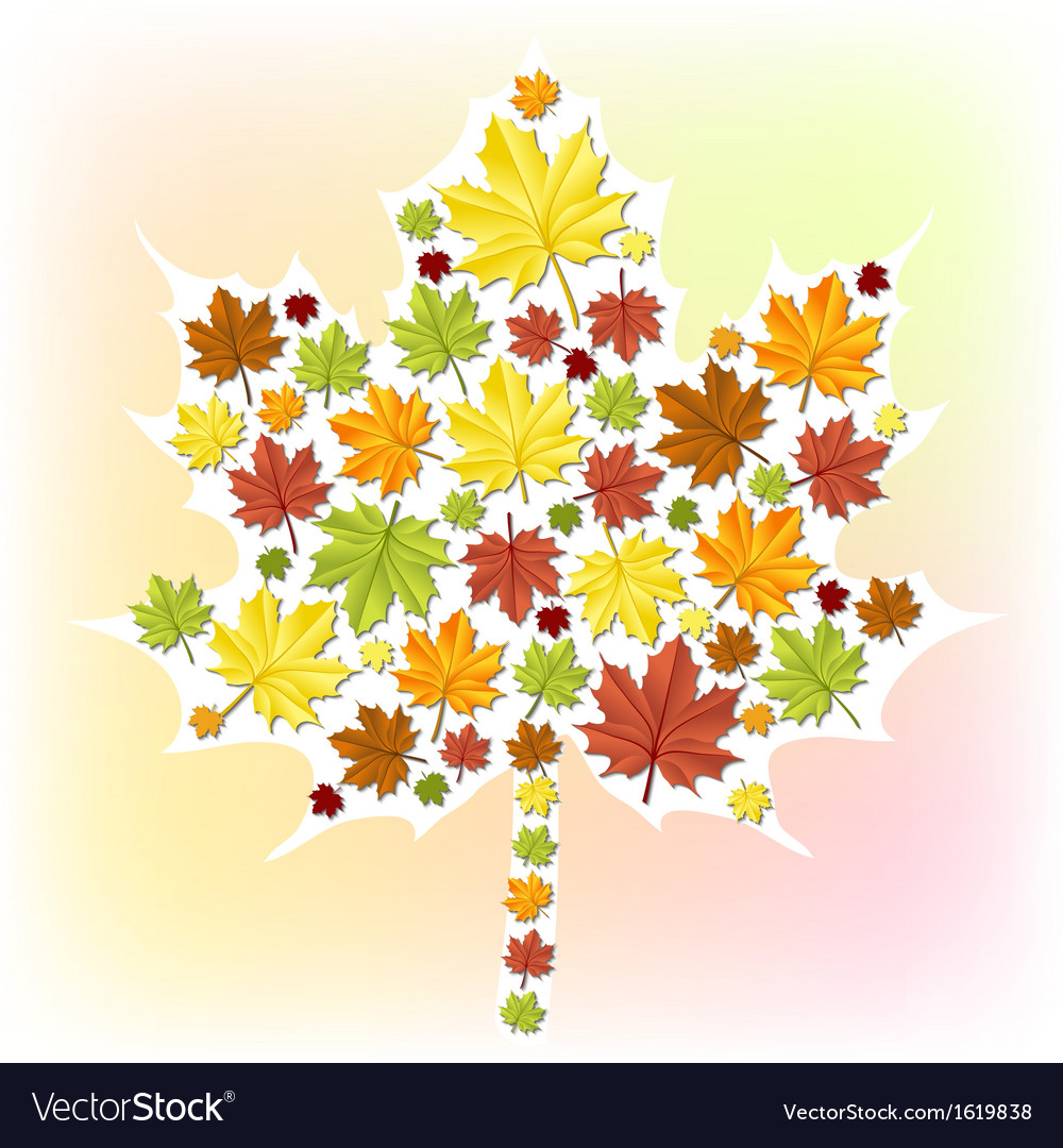 Autumn leaf made from small leaves vector | Price: 1 Credit (USD $1)