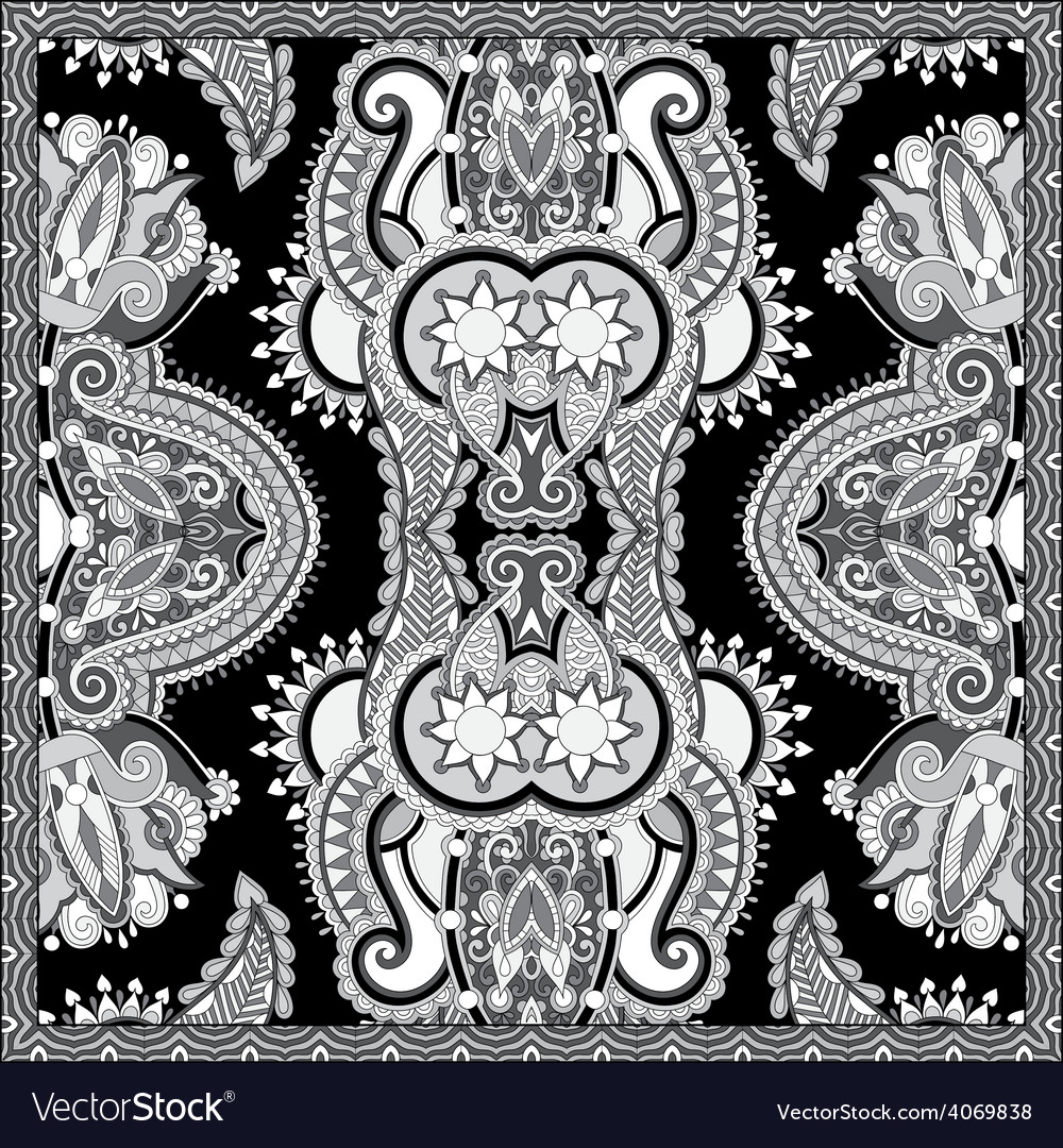 Black and white ornamental floral paisley bandanna vector | Price: 1 Credit (USD $1)