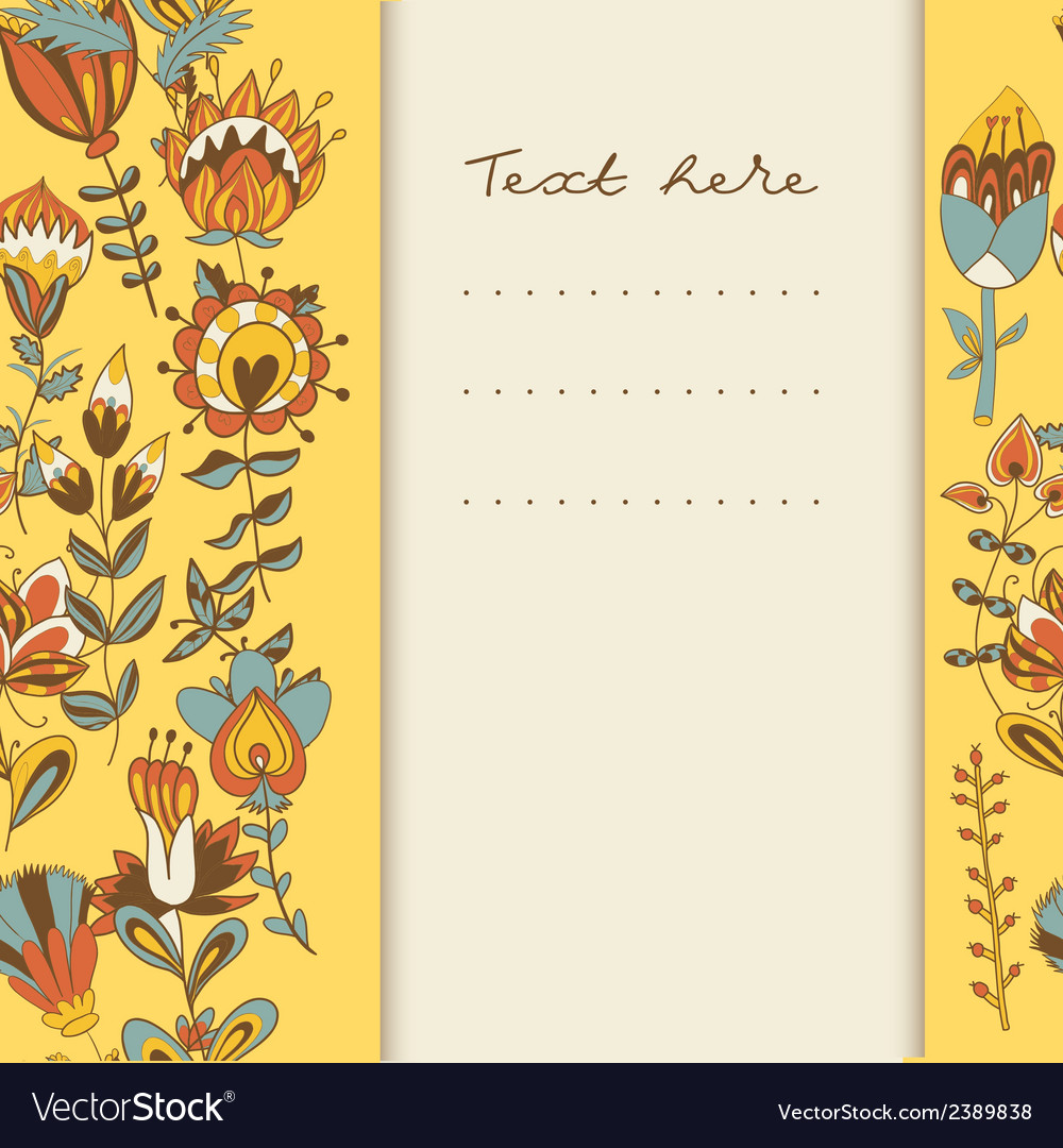 Border with abstract hand-drawn flowers vector   Price: 1 Credit (USD $1)