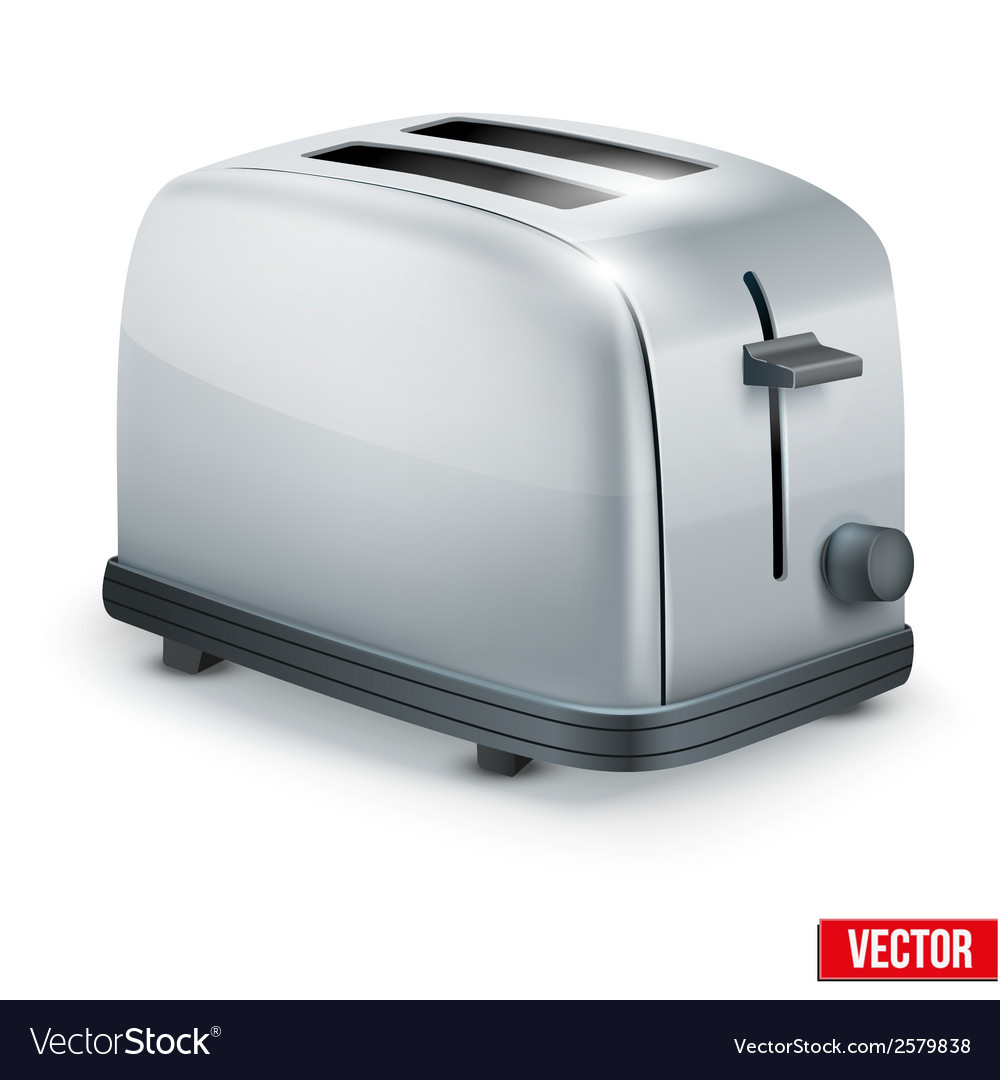Bright metal toaster isolated on white vector | Price: 1 Credit (USD $1)