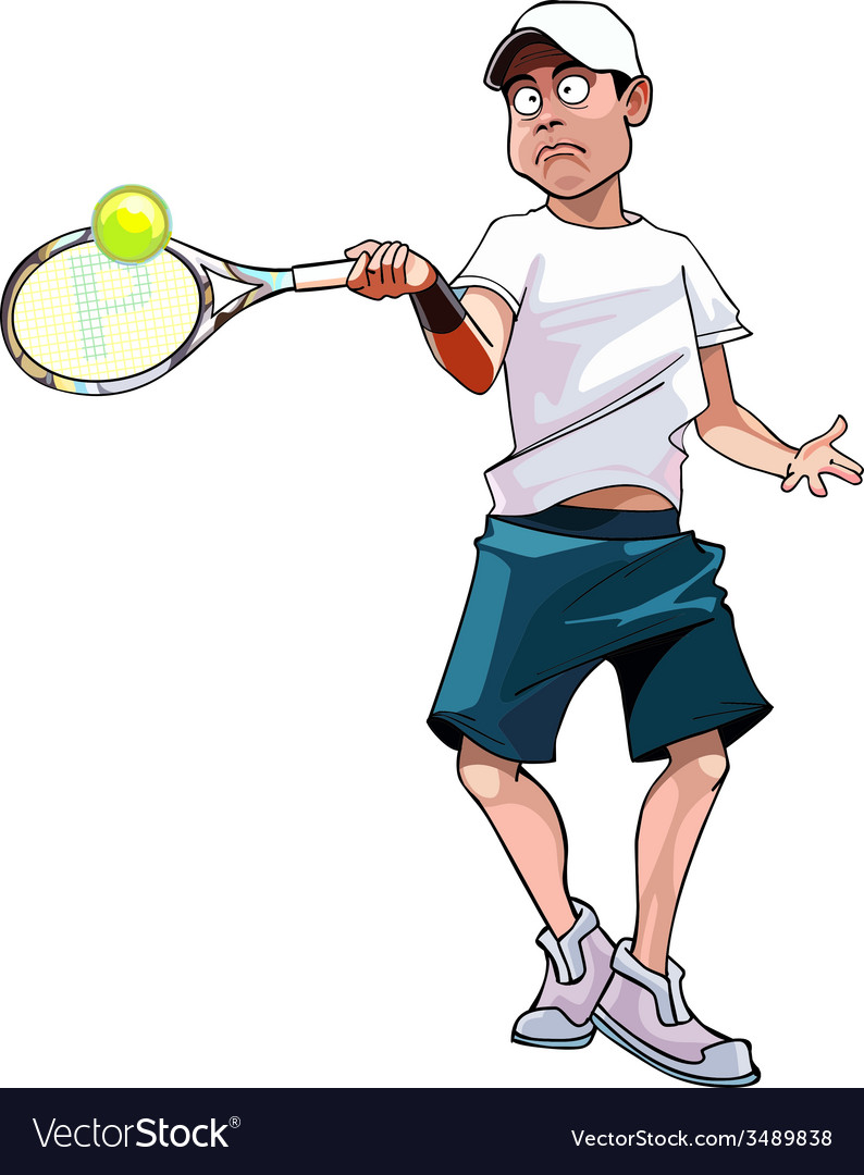 Cartoon man playing tennis vector | Price: 3 Credit (USD $3)