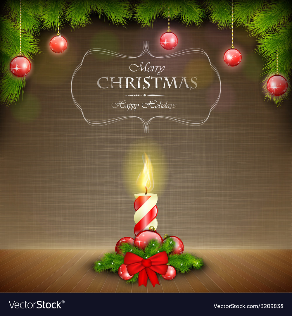 Christmas candle on scratched background vector | Price: 3 Credit (USD $3)