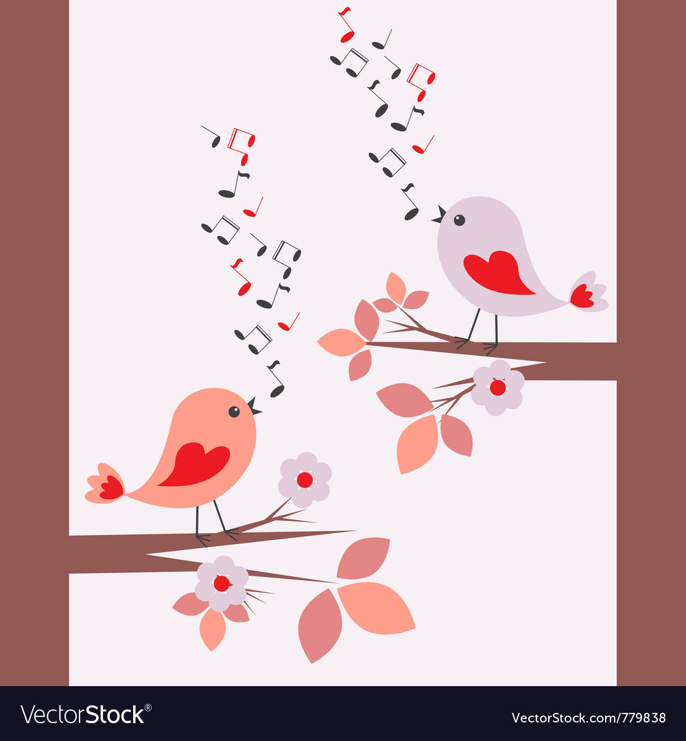 Cute birds singing seamless vector | Price: 1 Credit (USD $1)