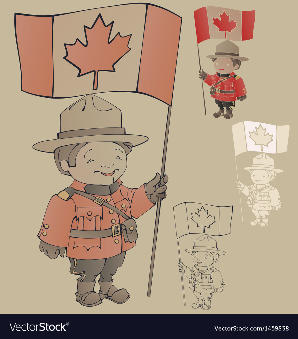 Cute cartoon canadian mounties with a flag of vector | Price: 1 Credit (USD $1)