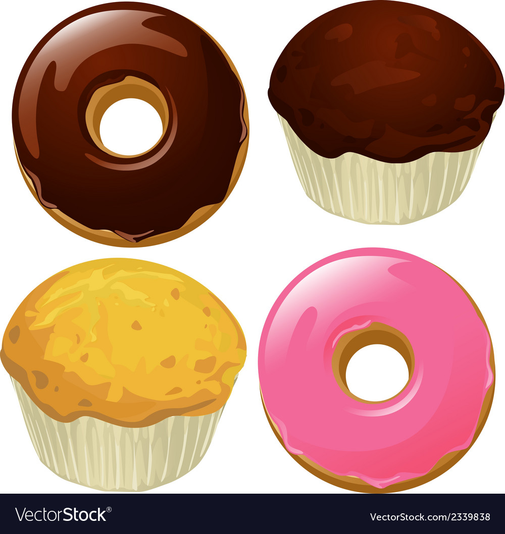 Donuts and muffins isolated on a white background vector | Price: 1 Credit (USD $1)