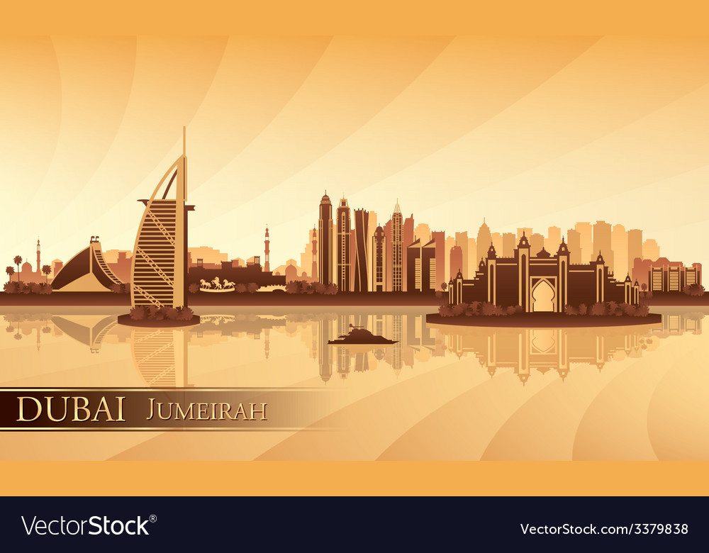 Dubai jumeirah skyline silhouette background vector | Price: 1 Credit (USD $1)