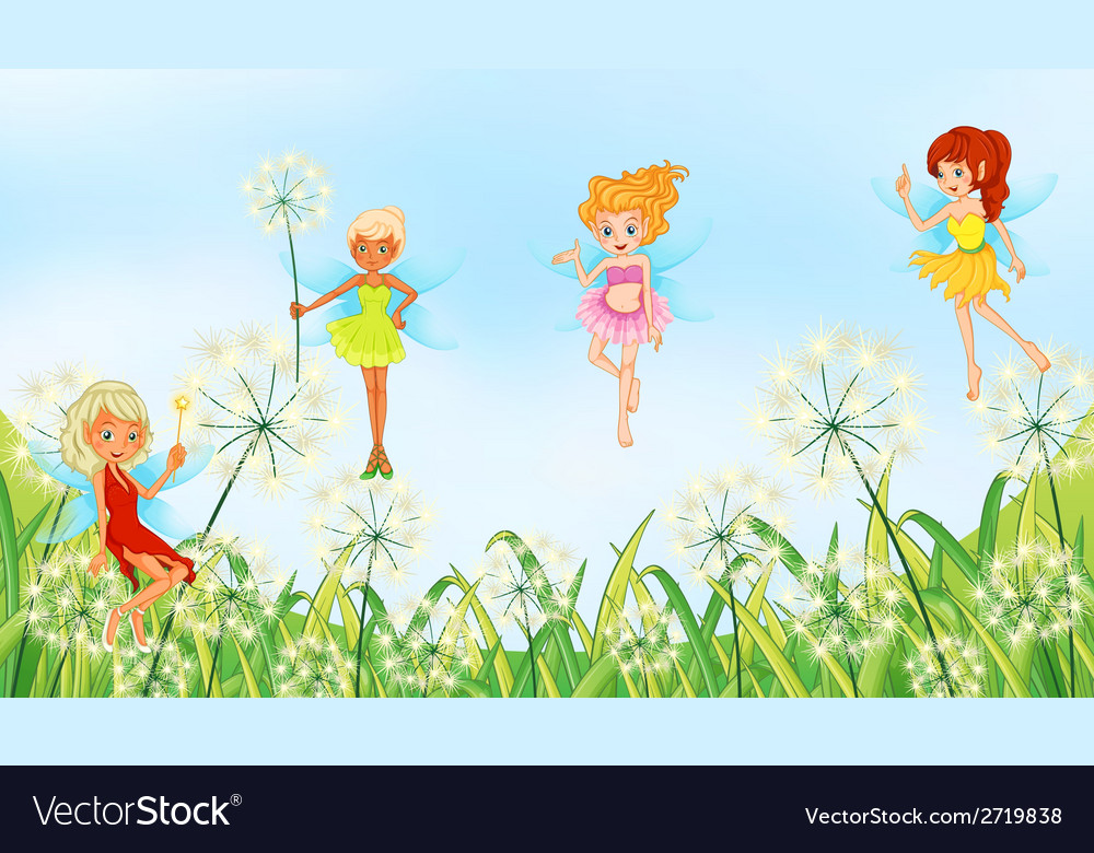 Fairies in the garden vector | Price: 1 Credit (USD $1)