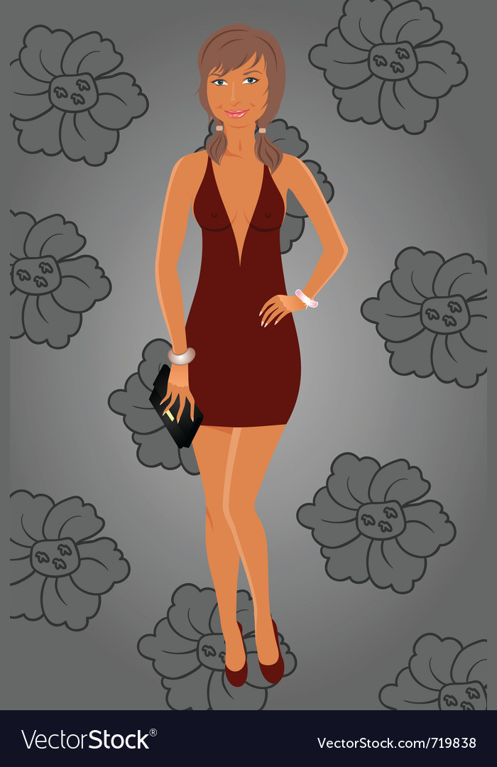 Fashion glamor girl in dress - vector | Price: 3 Credit (USD $3)