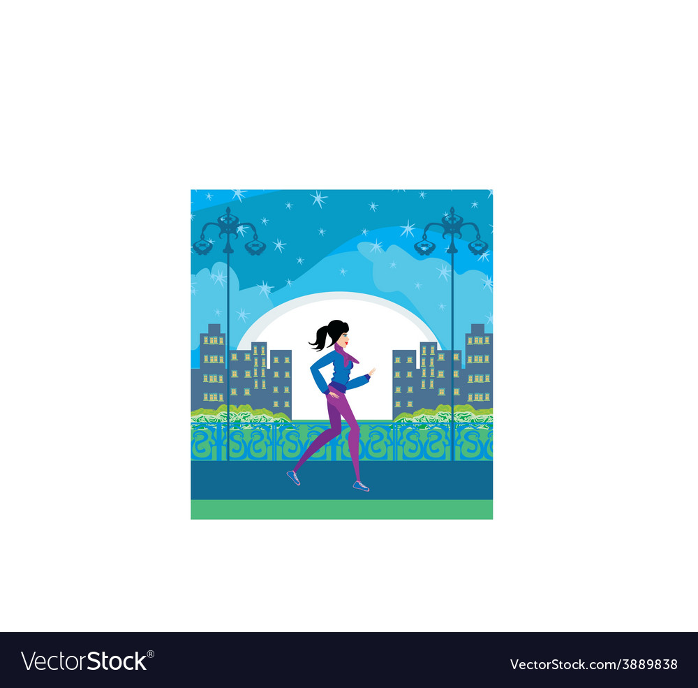Jogging girl in the city vector | Price: 1 Credit (USD $1)