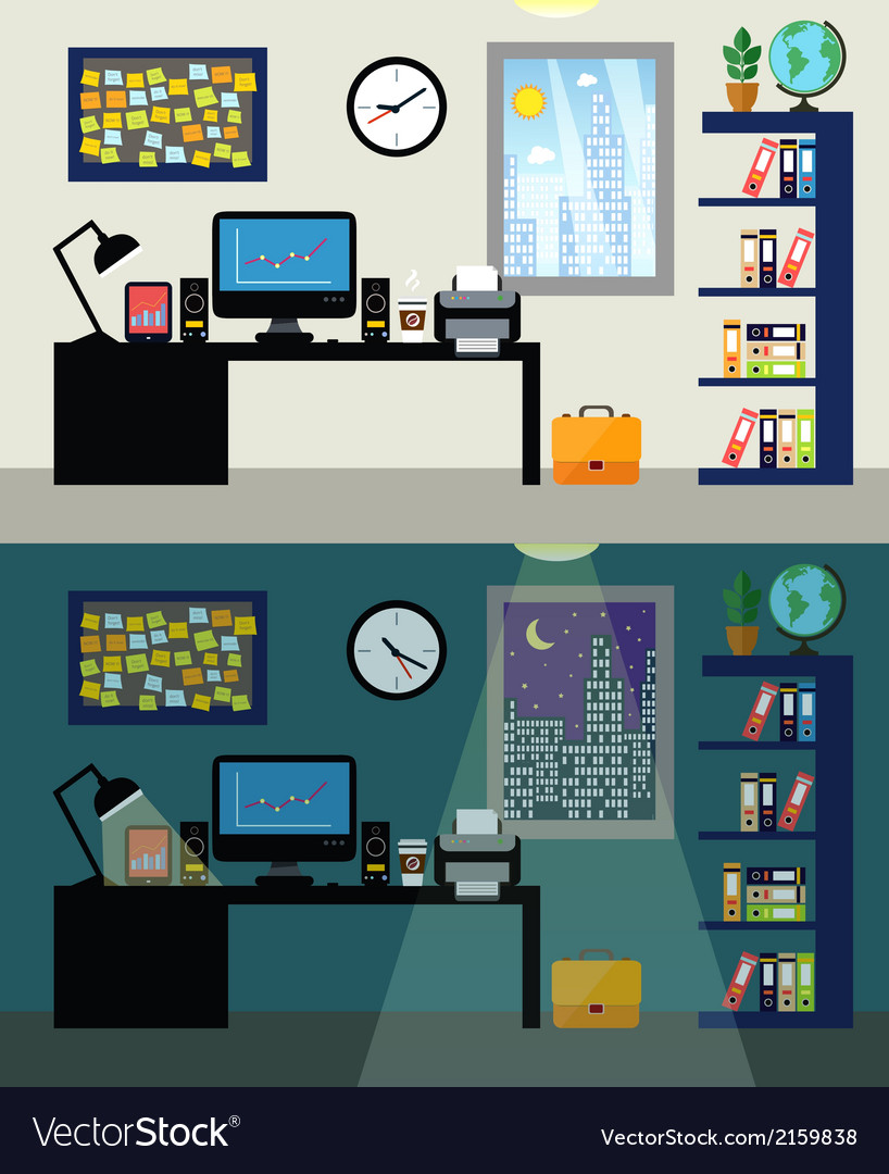 Office day and night vector | Price: 1 Credit (USD $1)