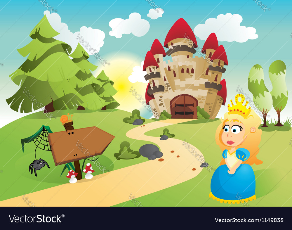 The princess and her kingdom vector | Price: 3 Credit (USD $3)