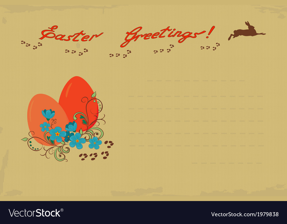 Retro easter greeting card vector | Price: 1 Credit (USD $1)