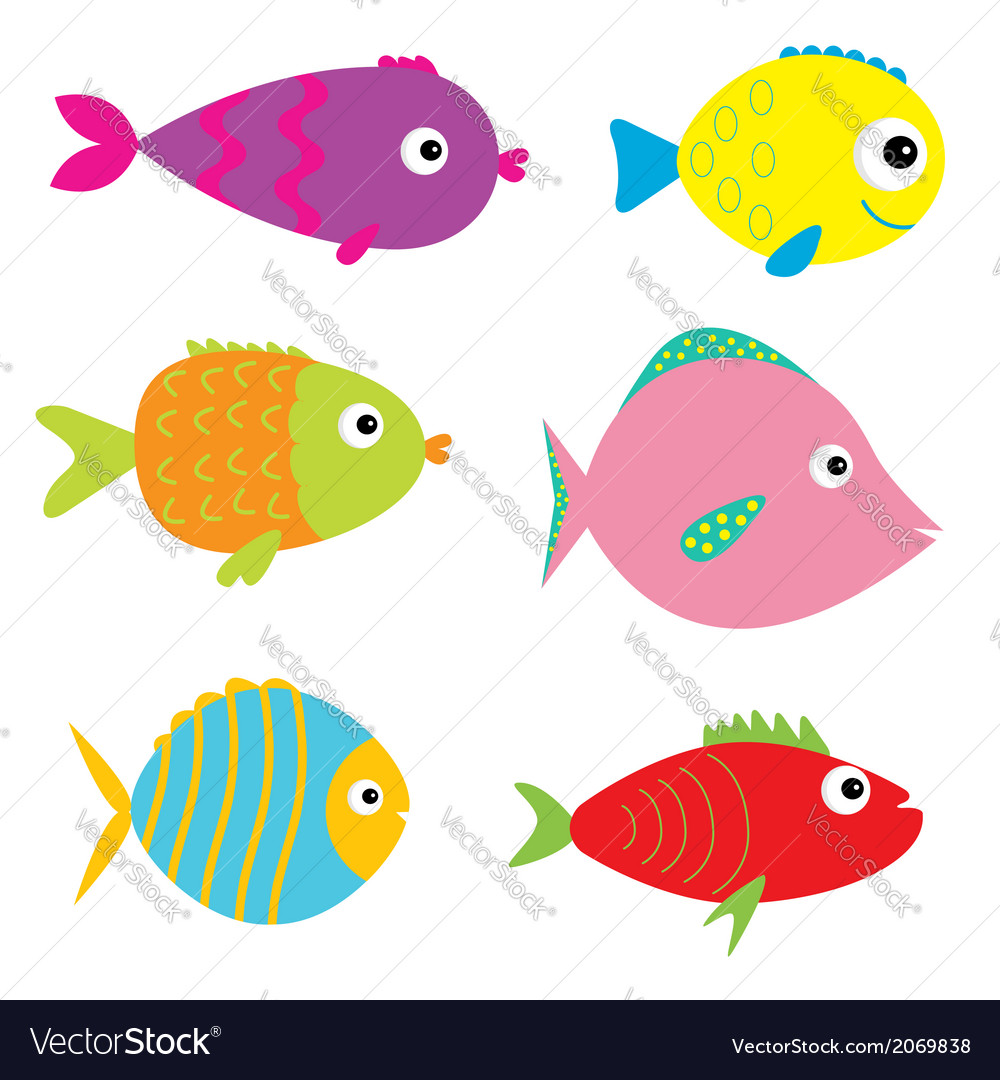 Set of cute cartoon fishes isolated vector | Price: 1 Credit (USD $1)