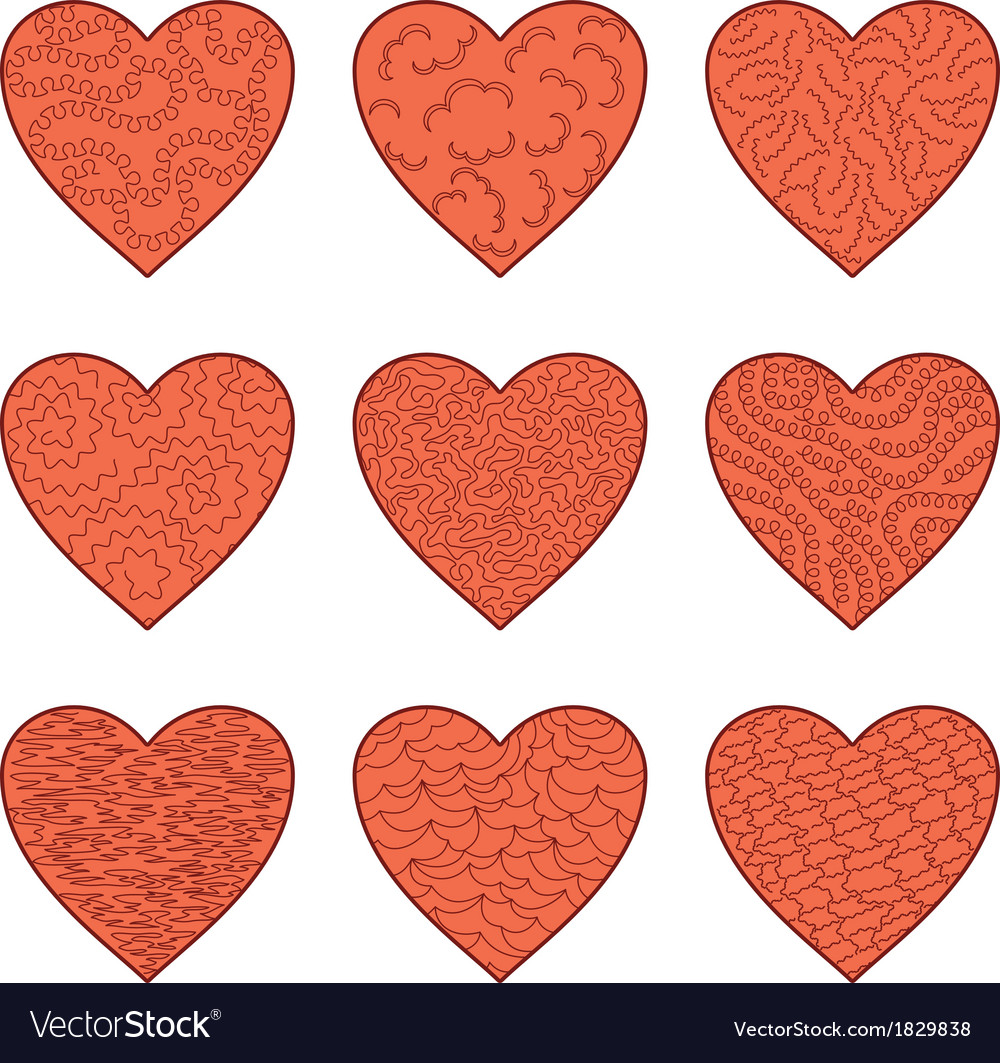 Set valentine hearts vector | Price: 1 Credit (USD $1)