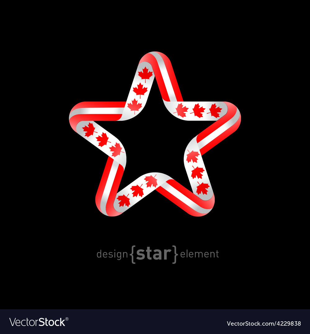 Star with canadian flag colors and symbols design vector | Price: 1 Credit (USD $1)