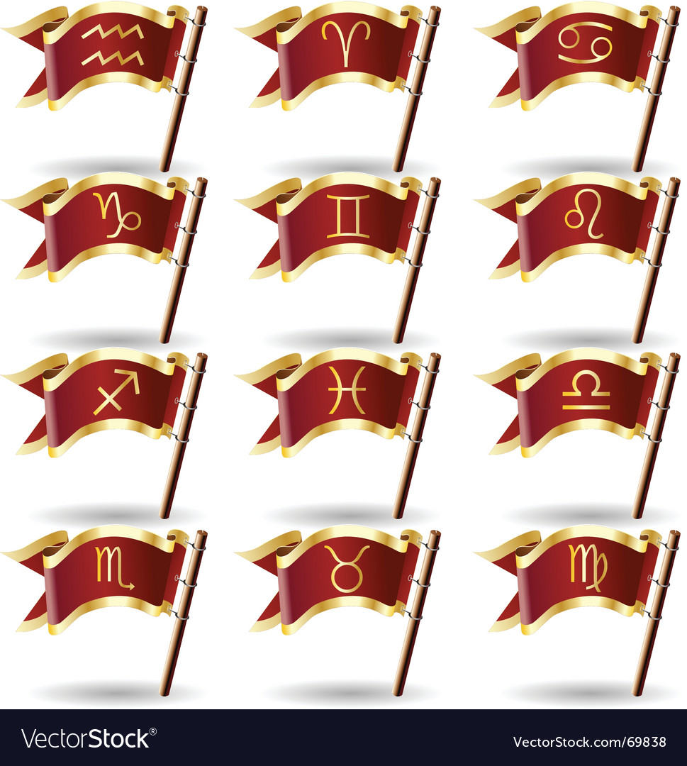Zodiac astrology symbol flags vector | Price: 1 Credit (USD $1)