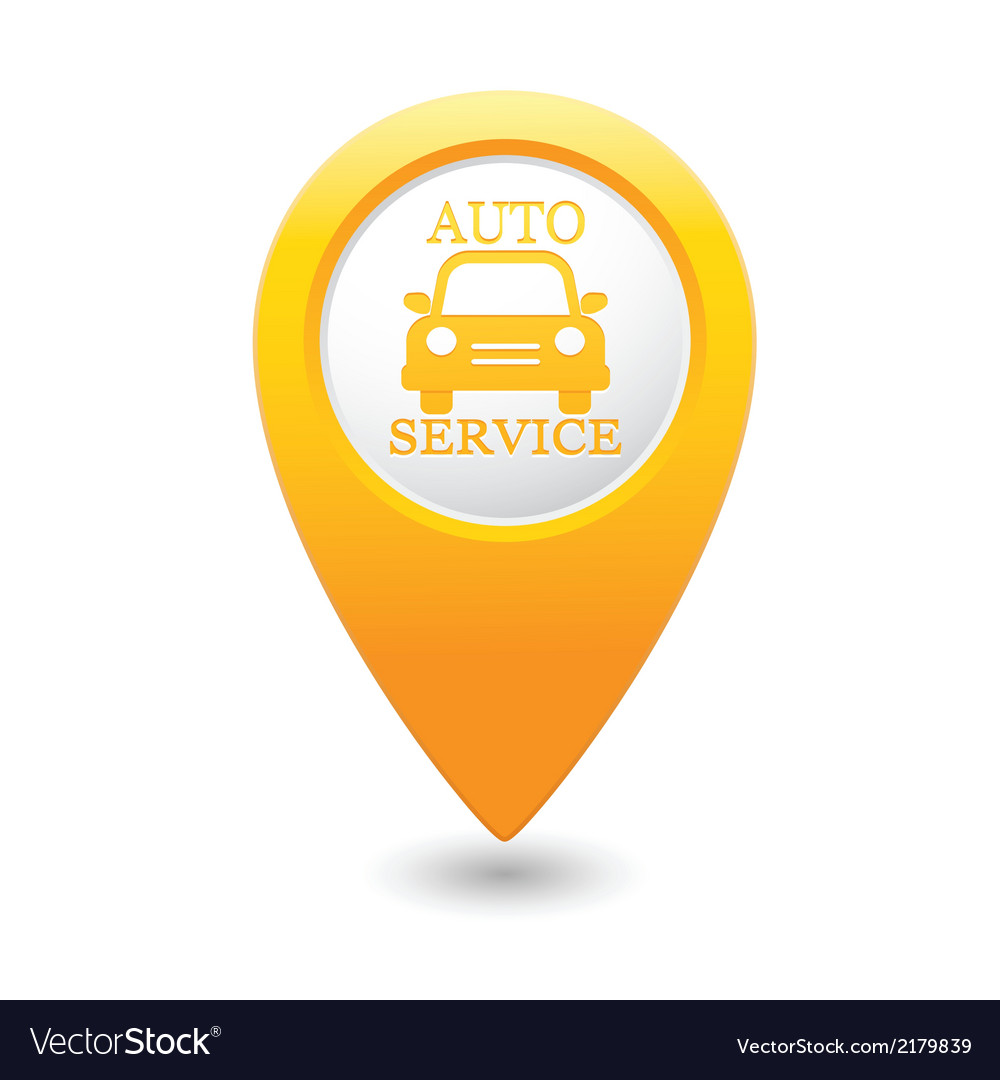 Auto service icon on yellow pointer vector | Price: 1 Credit (USD $1)