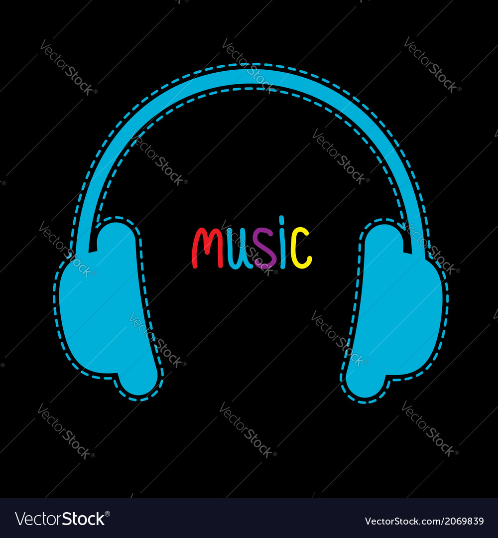 Blue headphones with dash line and word music vector | Price: 1 Credit (USD $1)