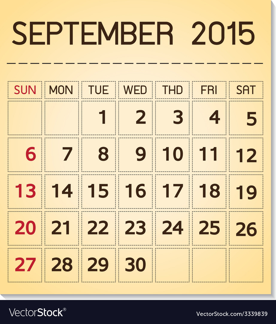Calendar 2015 09 september vector | Price: 1 Credit (USD $1)