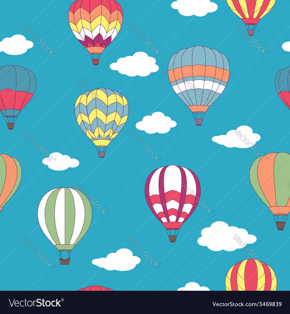 Colored hot air balloons seamless pattern vector | Price: 1 Credit (USD $1)