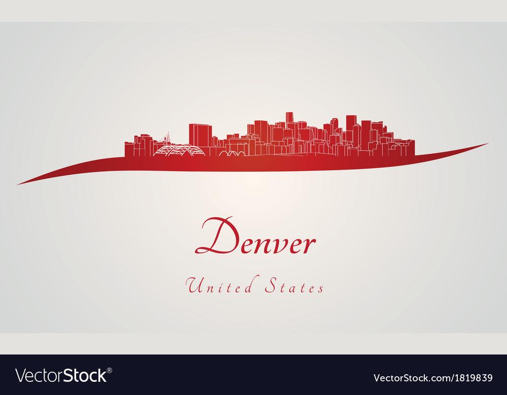 Denver skyline in red vector | Price: 1 Credit (USD $1)