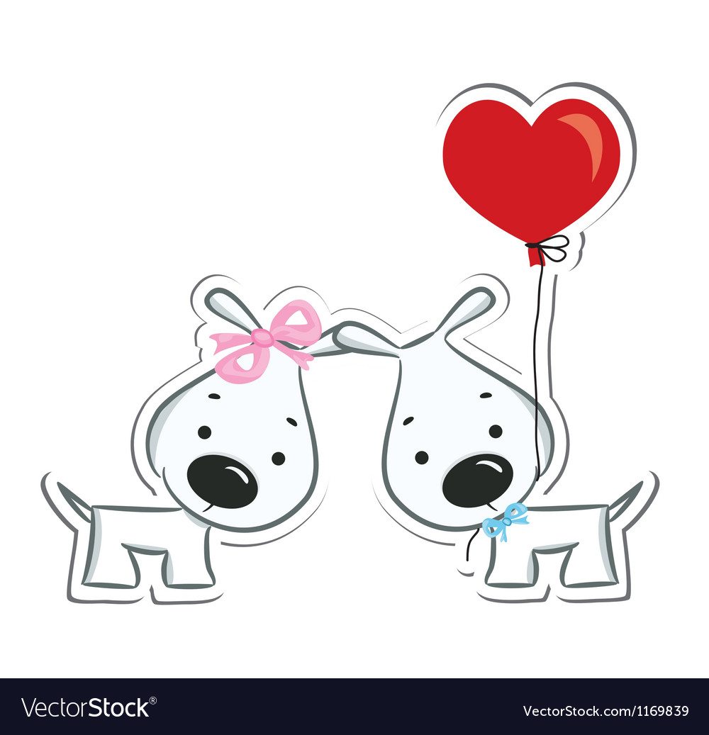 Dogs couple in love vector | Price: 1 Credit (USD $1)