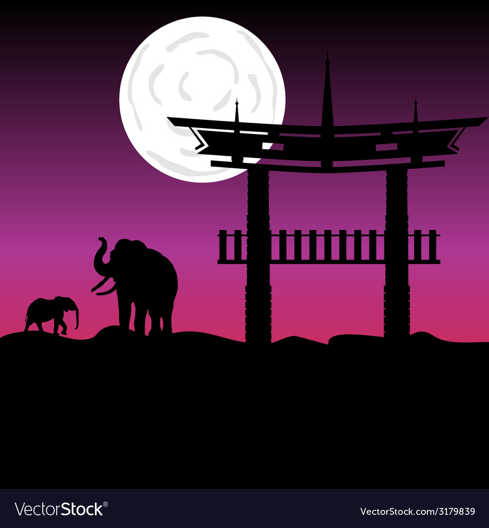 Elephants and chinese buildings art color vector | Price: 1 Credit (USD $1)