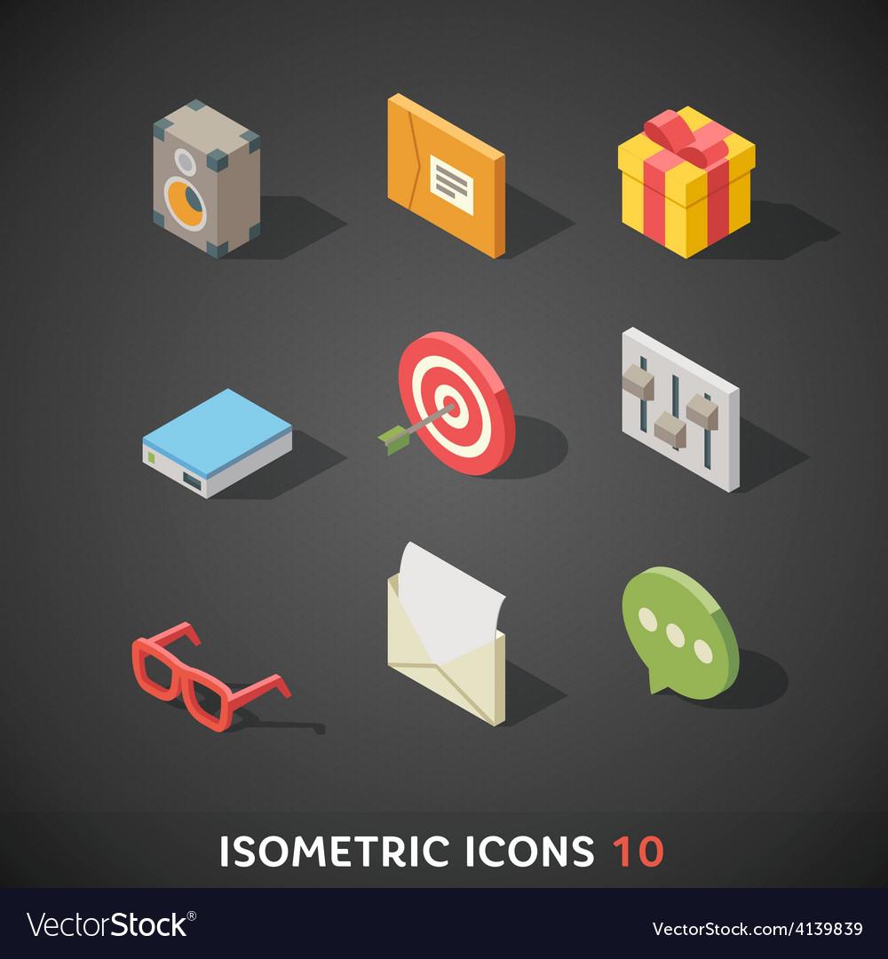 Flat isometric icons set 10 vector | Price: 3 Credit (USD $3)