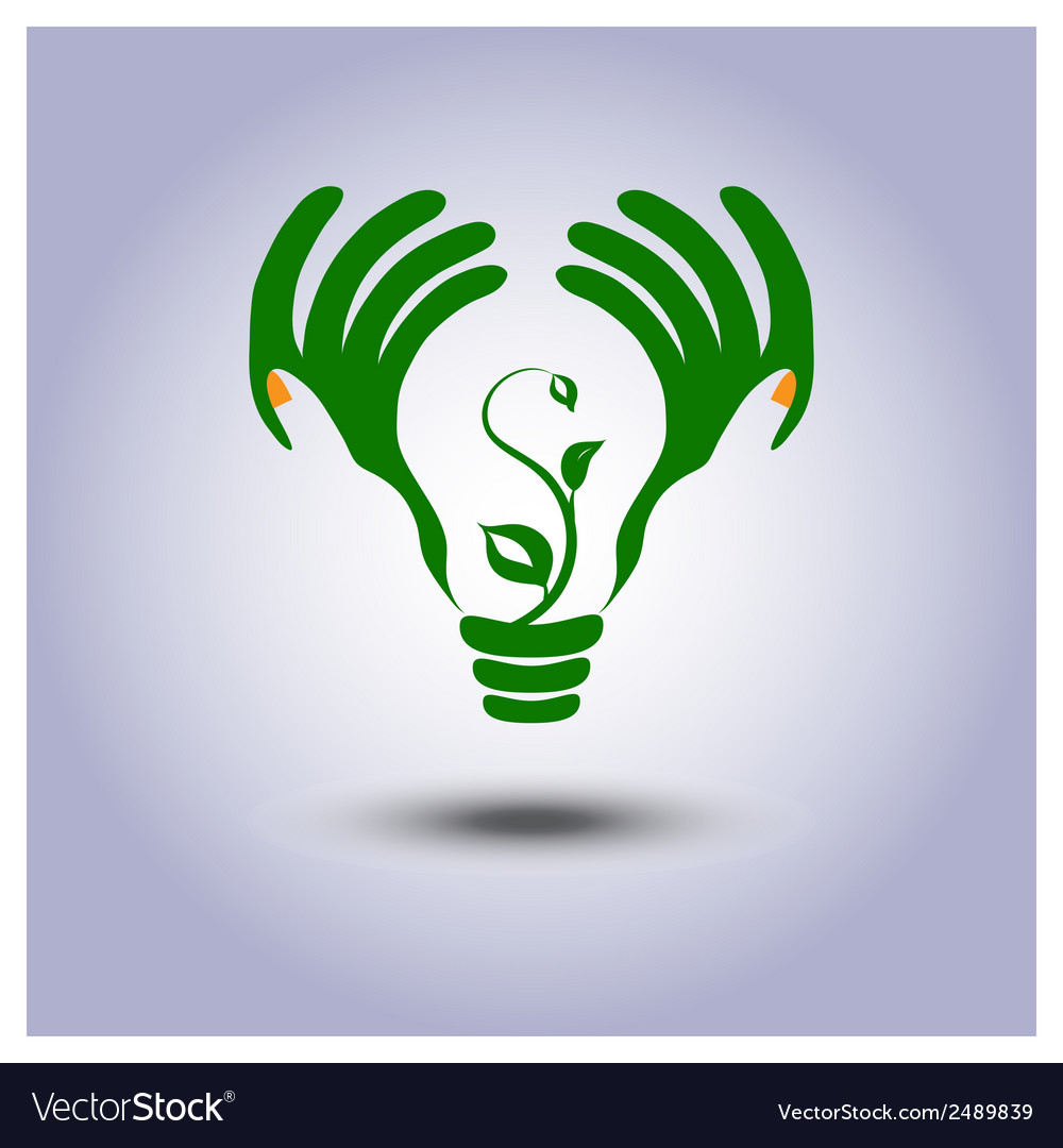 Green ecology light bulb icon in hands vector | Price: 1 Credit (USD $1)