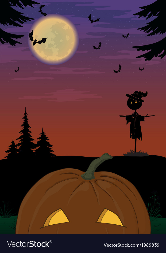 Halloween landscape with pumpkin vector | Price: 1 Credit (USD $1)
