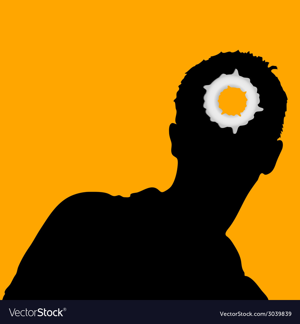 Man head and hole on it vector | Price: 1 Credit (USD $1)