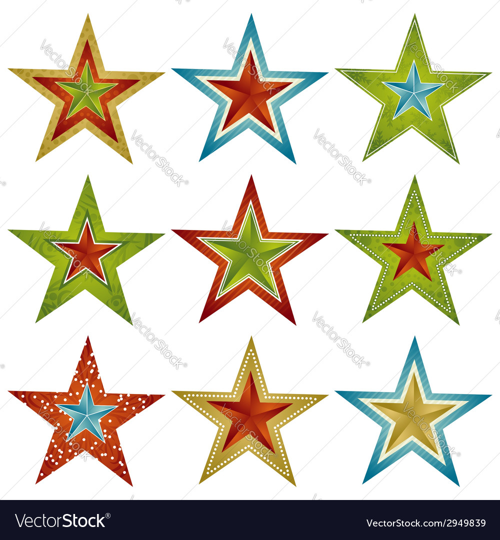 Nine color christmas star vector | Price: 1 Credit (USD $1)